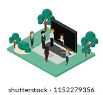 mini people with forest scene... | Shutterstock .eps vector #1152279356