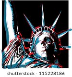 warhol inspired lady liberty | Shutterstock .eps vector #115228186