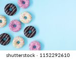 Flat Lay Donuts Pattern On A...