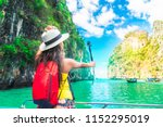 active traveler asian girl joy... | Shutterstock . vector #1152295019