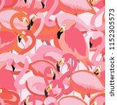 pink flamingos seamless pattern ... | Shutterstock .eps vector #1152305573