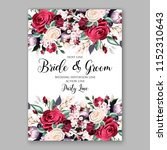 watercolor red burgundy rose... | Shutterstock .eps vector #1152310643