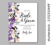 watercolor vioet rose wedding...   Shutterstock .eps vector #1152310649