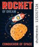 rocket in space flies over a... | Shutterstock .eps vector #1152317126