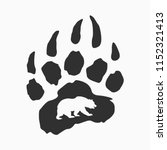 imprint of bear paw  vector... | Shutterstock .eps vector #1152321413