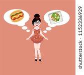 young brunette girl in a dress... | Shutterstock .eps vector #1152336929