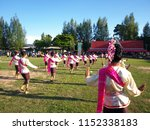 Small photo of Isan dance contest In Thailand rocket festival. Isan dance contest is one type of Thai dance.