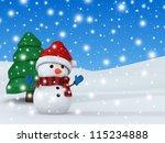 3d render of a snowman | Shutterstock . vector #115234888