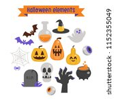 vector set of halloween... | Shutterstock .eps vector #1152355049