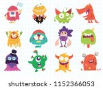 cartoon monsters collection.... | Shutterstock .eps vector #1152366053