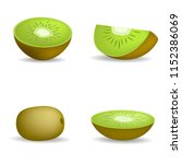 kiwi fruit food slice icons set.... | Shutterstock .eps vector #1152386069