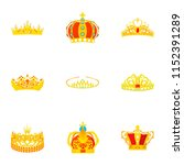 crowned head icons set. cartoon ... | Shutterstock .eps vector #1152391289