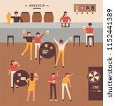 people who enjoy beer in pubs... | Shutterstock .eps vector #1152441389