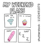 hand drawn weekend plans vector ... | Shutterstock .eps vector #1152451073