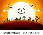 halloween background design... | Shutterstock .eps vector #1152458570
