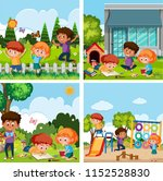 a set of children playing at... | Shutterstock .eps vector #1152528830