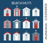 set of beach huts with seagulls ... | Shutterstock .eps vector #1152543923