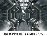metal futuristic corridor... | Shutterstock . vector #1152567470