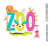 zoo hand drawn sign with cute... | Shutterstock .eps vector #1152569360