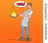 pop art man in the kitchen... | Shutterstock .eps vector #1152595529