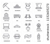set of 16 icons such as big ben ...