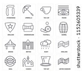 set of 16 icons such as united...
