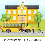 school bus boy girls pupil... | Shutterstock .eps vector #1152623819