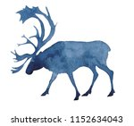 Stock photo watercolor silhouette of a reindeer 1152634043