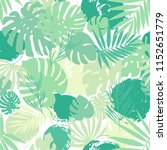 seamless tropical palms pattern.... | Shutterstock .eps vector #1152651779