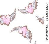 hand drawn flitting hearts...   Shutterstock .eps vector #1152661220