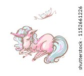 cute unicorn and butterfly...   Shutterstock .eps vector #1152661226