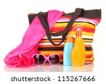 beach bag with accessories...   Shutterstock . vector #115267666
