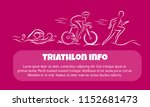 triathlon hand drawn outline... | Shutterstock .eps vector #1152681473
