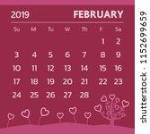 calendar for february 2019 with ... | Shutterstock .eps vector #1152699659