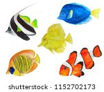Set Of Sea Fish Watercolor