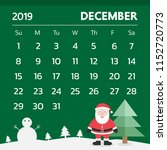 calendar for december 2019 with ... | Shutterstock .eps vector #1152720773
