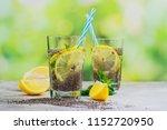 chia fresca drink with lemon...   Shutterstock . vector #1152720950