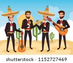group mexican mariachis with... | Shutterstock .eps vector #1152727469