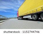 a fast truck running on the...   Shutterstock . vector #1152744746