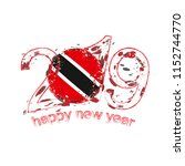 happy new 2019 year with flag... | Shutterstock .eps vector #1152744770