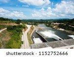 Top view fo dam of moragahakanda kulasinghe reservoir,  sri lanka