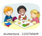 illustration of kids creating... | Shutterstock .eps vector #1152760649