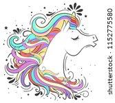 cute white unicorn with rainbow ... | Shutterstock .eps vector #1152775580