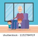 grandpa and geandchildren in... | Shutterstock .eps vector #1152784919