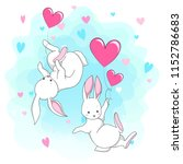 cute white romantic bunny with... | Shutterstock .eps vector #1152786683