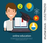 education on line with laptop | Shutterstock .eps vector #1152790253