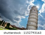 dramatic sky over the leaning... | Shutterstock . vector #1152793163