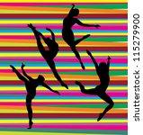 dance silhouettes on stripe... | Shutterstock .eps vector #115279900