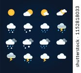 weather icons sun and clouds in ... | Shutterstock .eps vector #1152818033