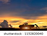 Silhouette Of Pickup Truck On...
